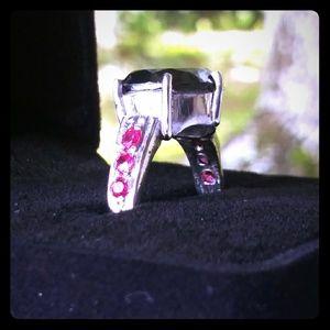 .925 Silver + Black Diamond & Rubies